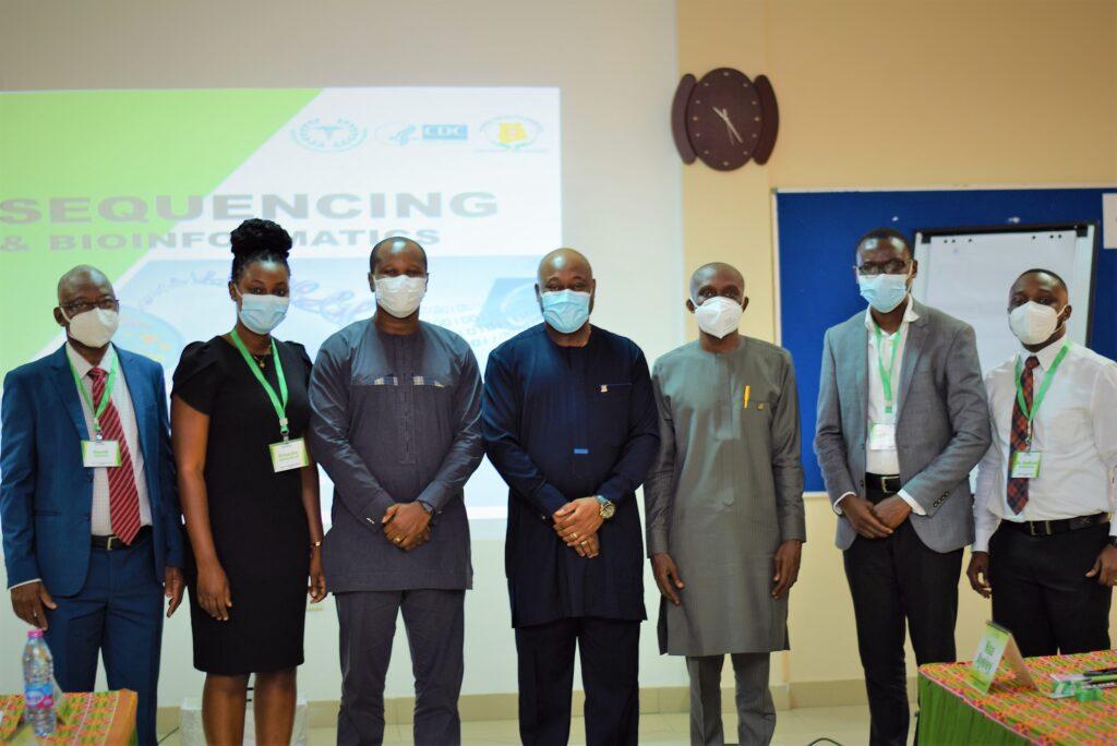 Third from right: Mr. Bernard Nkrumah, Dr. Gordon Awandare, Dr. Franklin Asiedu Bekoe and team from CfHSS